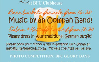 Oktoberfest! Only 3 Days to go! 15 October at BFC Clubhouse